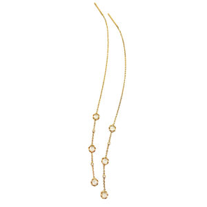 18k 14k rose cut diamond twist set three station threader earrings