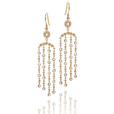 18k 14k gold rose cut diamond twist set cascade chandelier earrings with your choice of yellow, white or rose gold by JeweLyrie