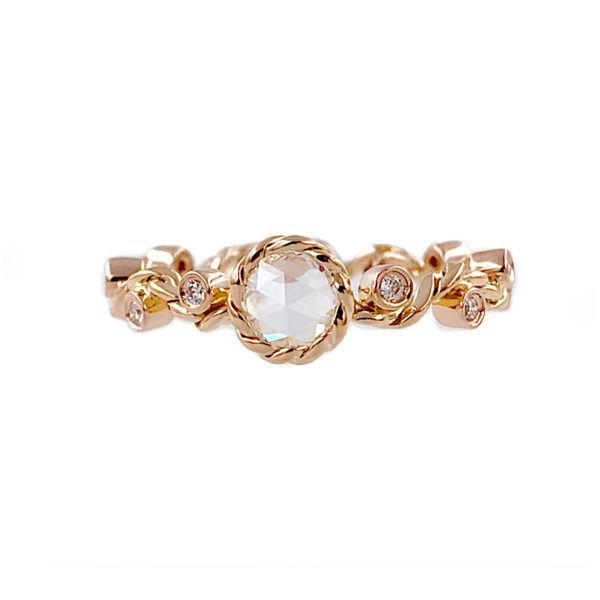 Signature Wavy Twist Rose Cut Diamond Solitaire Gold Ring in 14k and 18k with total 0.54ct white diamonds from Allongé collection by JeweLyrie
