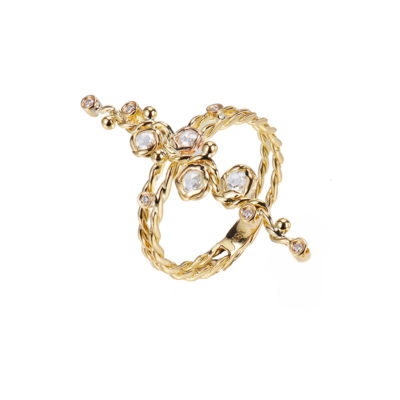 Signature Twist Scattered Rose Cut Diamond Vertical Wavy Gold Bar Ring