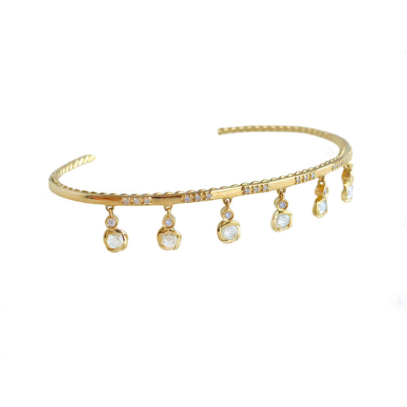 Twist Lined Rose Cut Diamond 6 Station Dangle Tassel Stackable Open Gold Cuff in 14k and 18k with total 0.902ct white diamonds by JeweLyrie