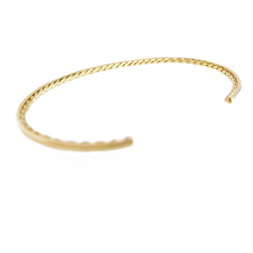 """1/8"""" Slim Twist Lined Pavé Diamond Trio Patterned Open Gold Cuff in 14k and 18k with total 0.123ct white diamonds from Allongé collection by JeweLyrie"""