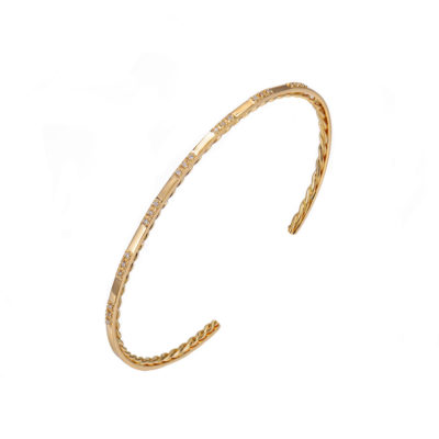 Signature Twist Lined Pavé Diamond Trio Patterned Stackable Open Gold Cuff