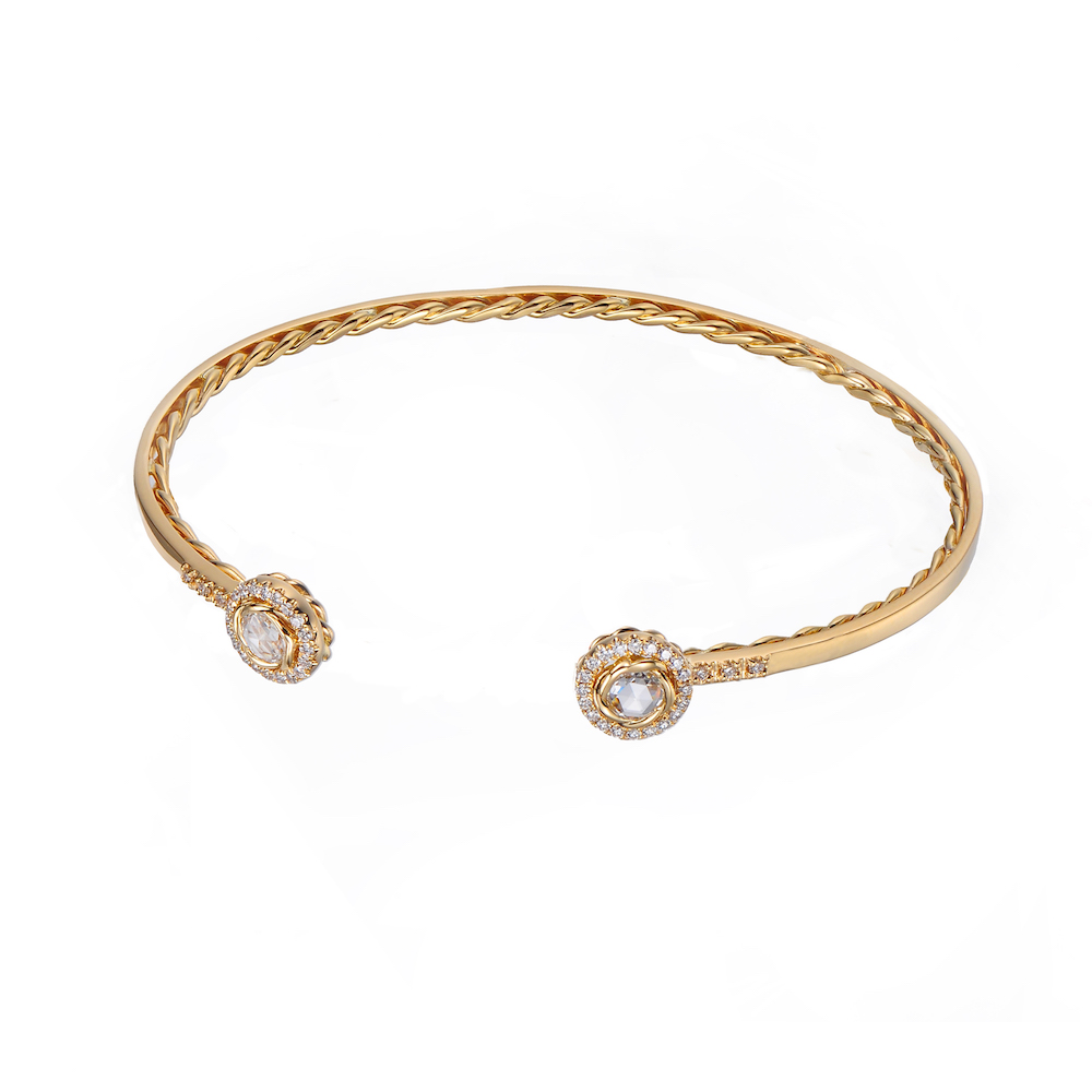 Double Halo Rose Cut Diamond Twist Lined Open Gold Cuff in 14k and 18k with total 0.343ct white diamonds from Allongé collection by JeweLyrie