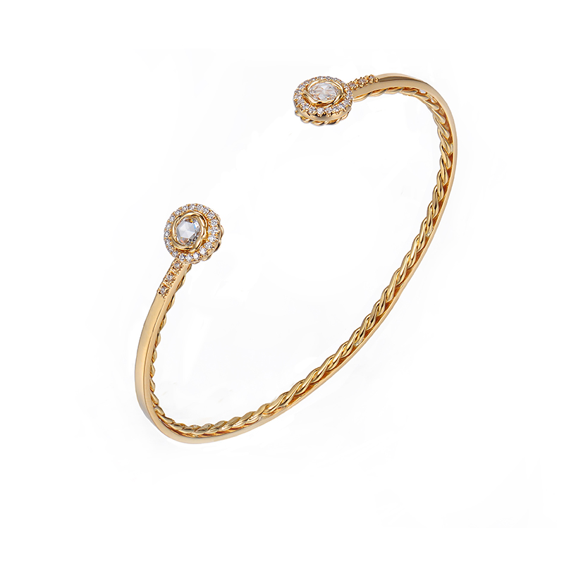 ALGCF-01S-Double-Halo-Rose-Cut-Diamond-Twist-Lined-Open-Gold-Cuff-14k-18k-JeweLyrie