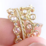 7mm Wavy Twist Alternate Rose Cut Diamond Stacking Eternity Gold Ring in 14k and 18k from Glissade stacking band by JeweLyrie.