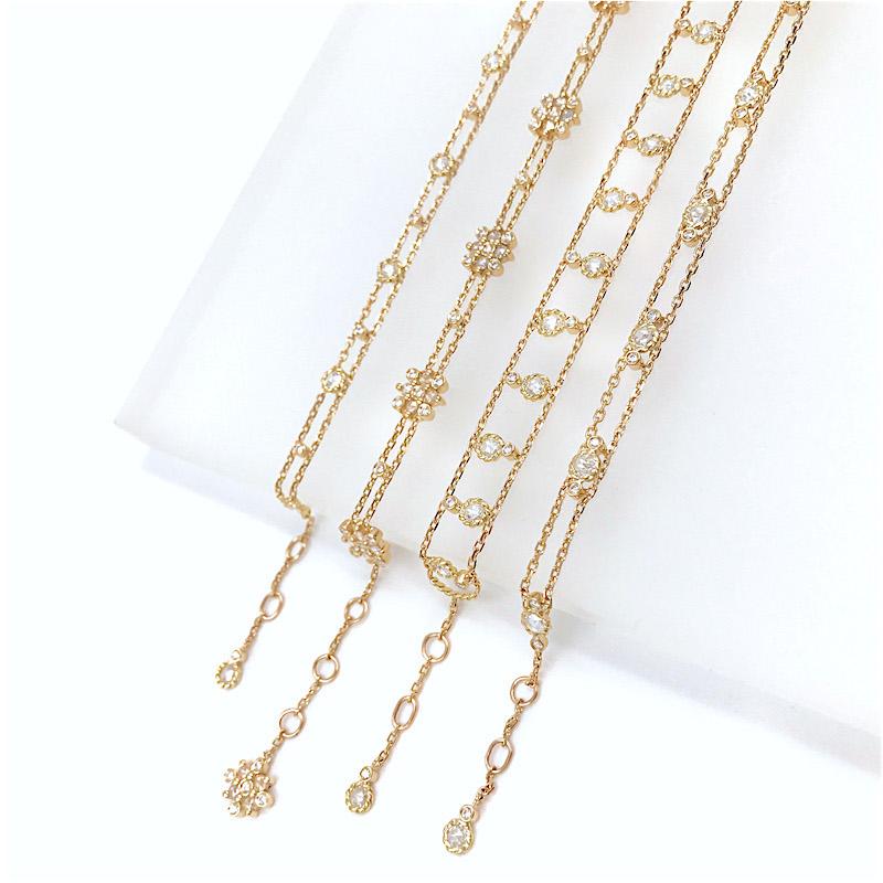 Alternate-Twist-Bezel-Rose-Cut-Diamond-Gold-Station-Chain-Bracelet-14k-18k-JeweLyrie-