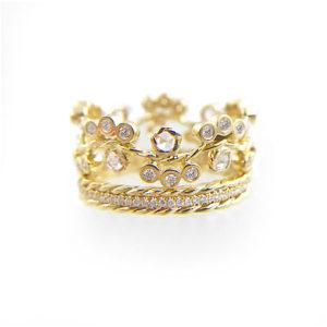 BLOOM-33.61-Wavy-twist-rose-cut-diamond-cluster-strip-base-gold-crown-ring-Stacking-Set-14k-18k-JeweLyrie_3942