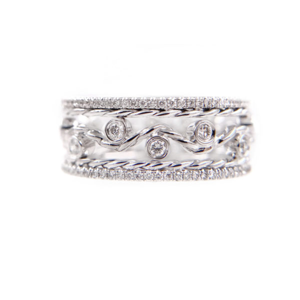 JeweLyrie Signature Wavy Twist ENLACE CHIC SHEEN Gold Three Ring Stacking Set with double twist trimmed Pavé Diamond Eternity Ring Guards in 14k and 18k