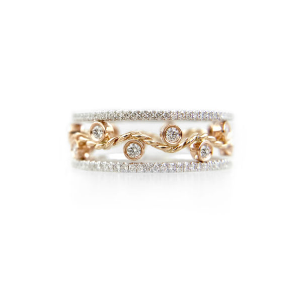 JeweLyrie Signature Wavy Twist ENLACE Gold Three Ring Stacking Set with ultra slim Pavé Diamond Eternity Ring Guards in 14k and 18k.