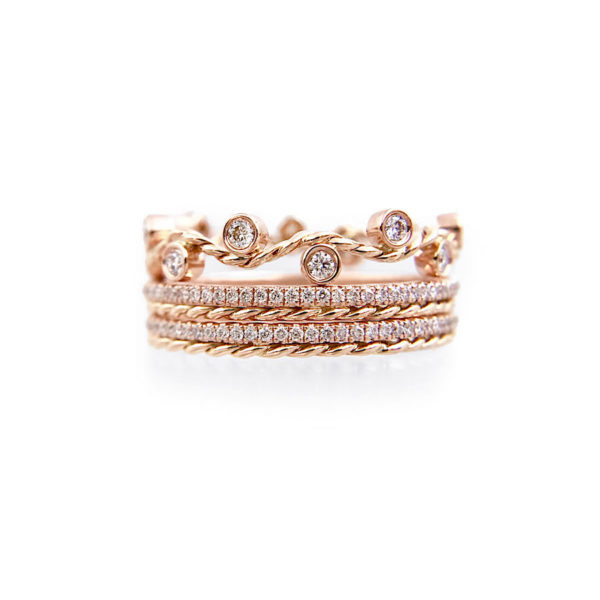 JeweLyrie Signature Wavy Twist ENLACE CHIC SHEEN Gold Crown Ring Stacking Set with double twist trimmed Pavé Diamond Eternity Ring Guards in 14k and 18k.