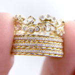 Wavy Twist Rose Cut Diamond Cluster Strip Base Crown Gold Ring Stacking Set with stripe of slim twist and Pavé Diamond Eternity Ring Guards in 14k or 18k