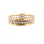4.6mm Pave Diamond Twist Square Satin Stripe Band Three Ring Stacking in 14k or 18k with total 0.19 carat of white diamonds