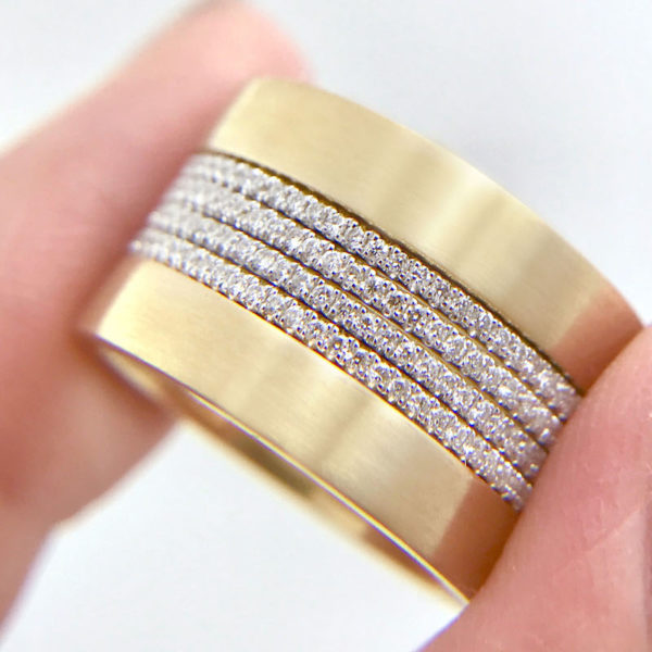 Chic square 4mm Satin Gold Band Ring Guard Spacer makes statement from subtle to dashing, available in 14k and 18k gold by JeweLyrie.