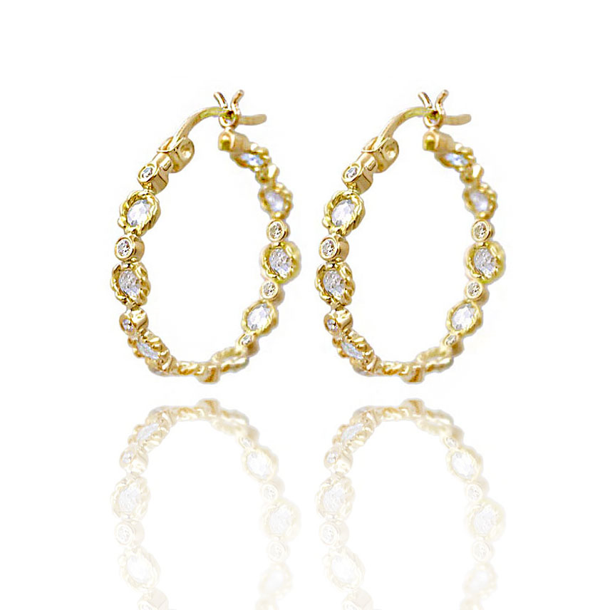 Signature-Twist-Bezel-Rose-Cut-Diamond-Eternity-Gold-Hoop-Earrings