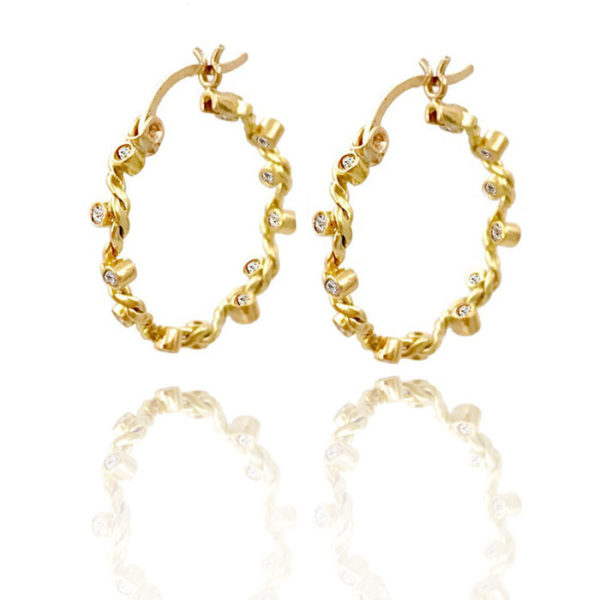 Signature Wavy Twist Diamond 18k Gold Hoop Earrings
