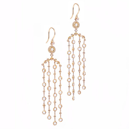18k 14k gold rose cut diamond twist set cascade chandelier earrings