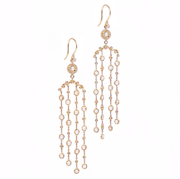 18k 14k gold rose cut diamond twist set cascade chandelier earrings
