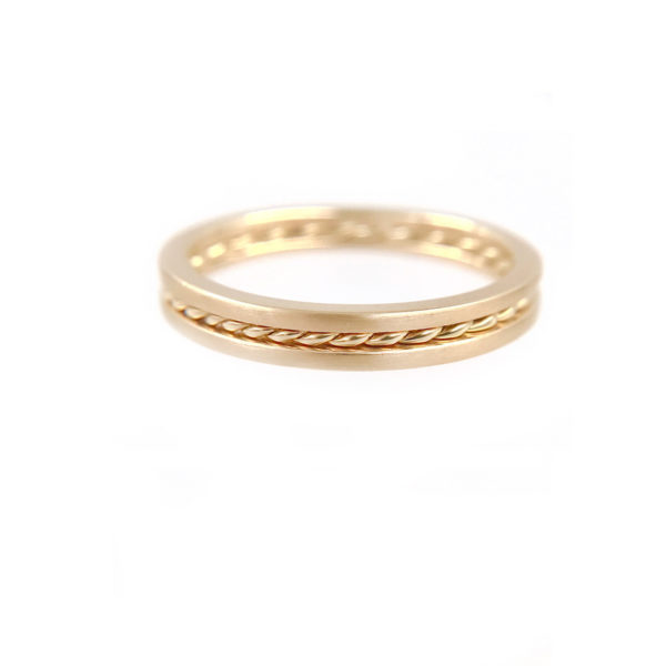 JeweLyrie Signature Slim Twist Satin Stripe Band Three Ring Stacking with stripe of Satin band and slim twist in 14k or 18k