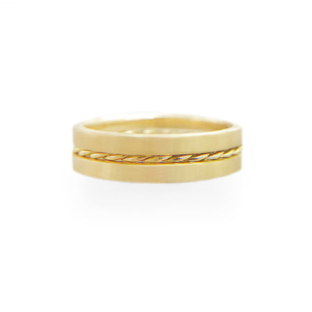 JeweLyrie Signature 4.8mm Slim Twist Satin Stripe Band Three Ring Stacking with stripe of Satin band and slim twist in 14k or 18k.