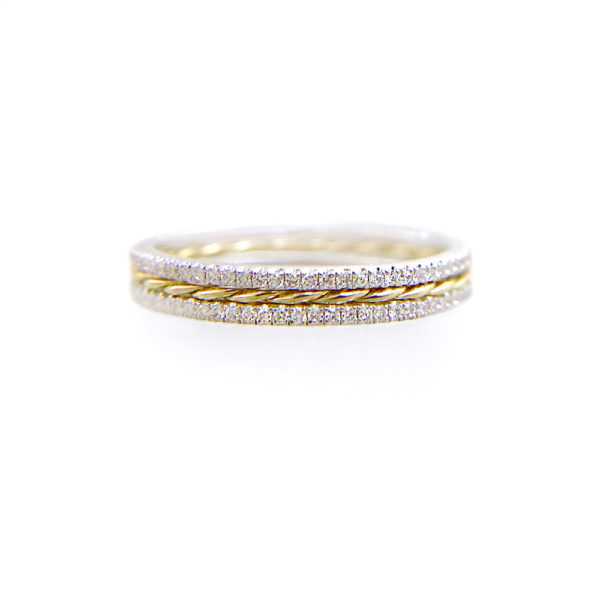 JeweLyrie Signature Slim Twist Double Pave Diamond Stripe Band Three Ring Stacking in 14k or 18k with total 0.39 carat of white diamonds