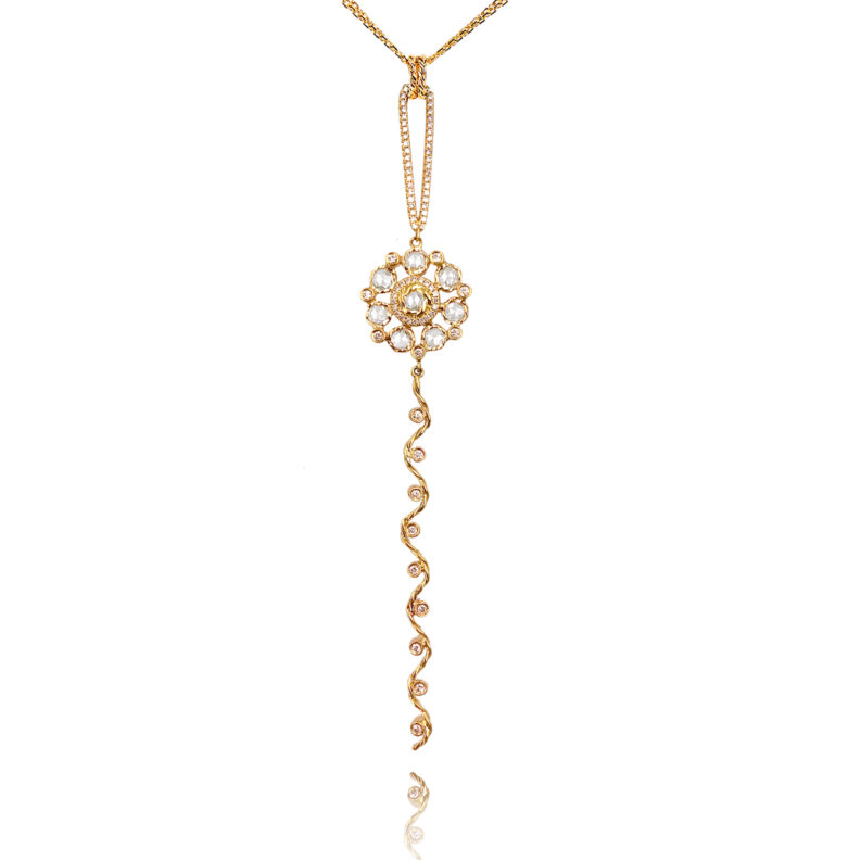 Rose Cut Diamond Bouquet Wavy Twist Ribbon Pavé Loop Pendant Necklace in 14k and 18k by JeweLyrie