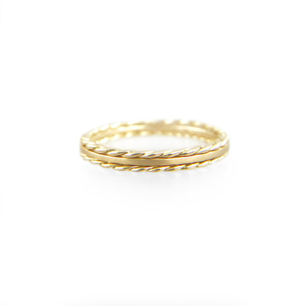 JeweLyrie Signature Slim Satin Double Twist Stripe Band Three Ring Stacking with stripe of Satin band and slim twist in 14k or 18k