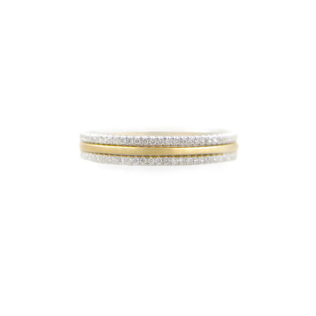 JeweLyrie Signature Slim Satin Double Pave Diamond Stripe Band Three Ring Stacking with stripe of Satin band and slim twist in 14k or 18k