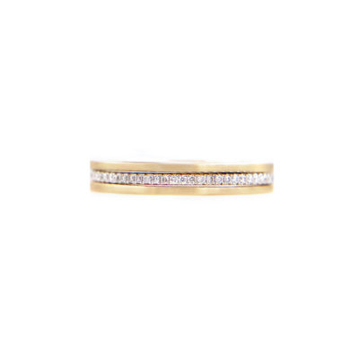 JeweLyrie Signature Slim Pave Diamond Double Satin Stripe Band Three Ring Stacking in 14k or 18k with total 0.19 carat of white diamonds