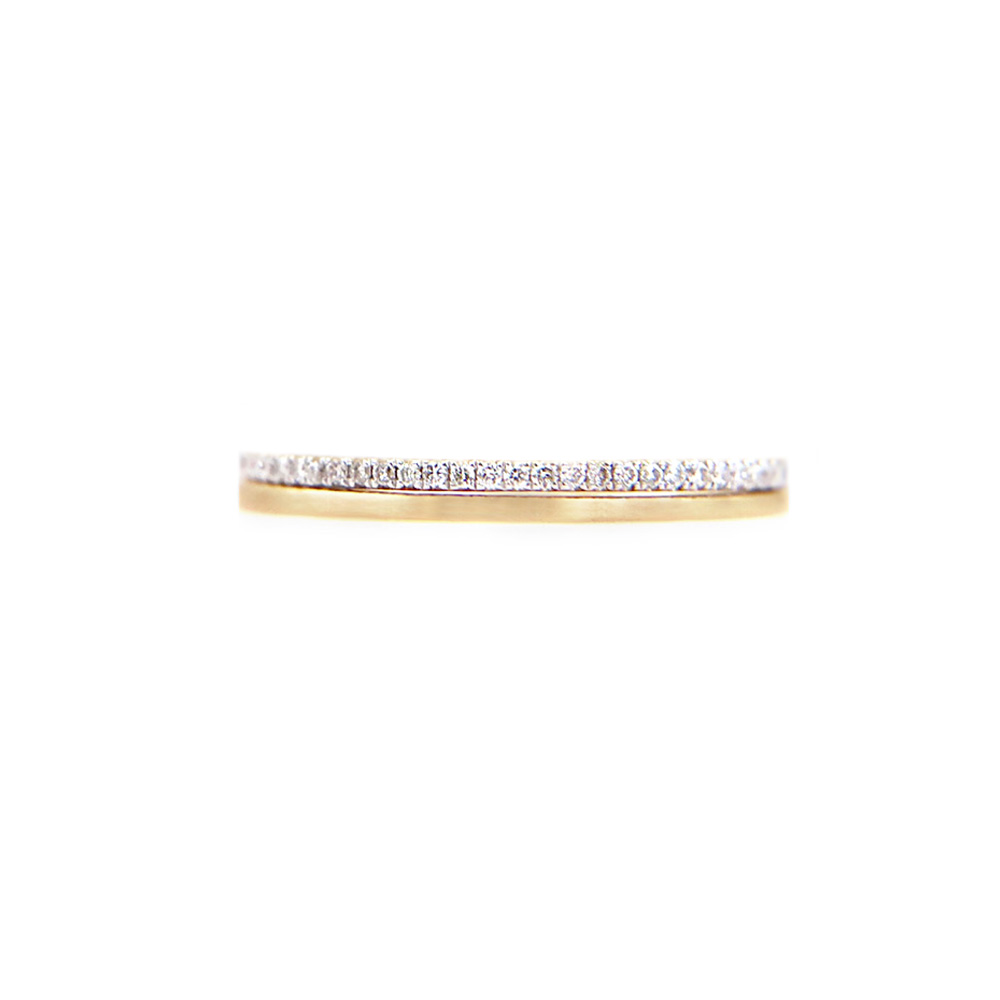 JeweLyrie Signature 2mm Slim Pave Diamond Satin Square Band Two Ring Stacking in 14k or 18k with total 0.19 carat of white diamonds