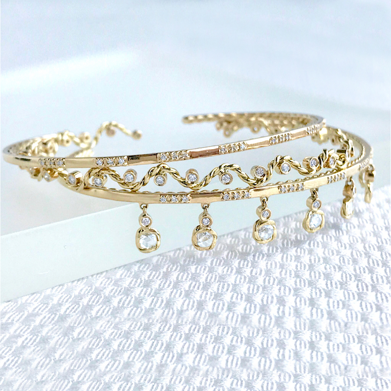 Signature-Wavy-Twist-Ribbon-Scattered-Diamond-Open-Gold-Stacking-Cuff