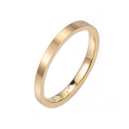 Chic square 2mm Satin Gold Band Ring Guard Spacer makes statement from subtle to dashing, available in 14k and 18k gold by JeweLyrie.