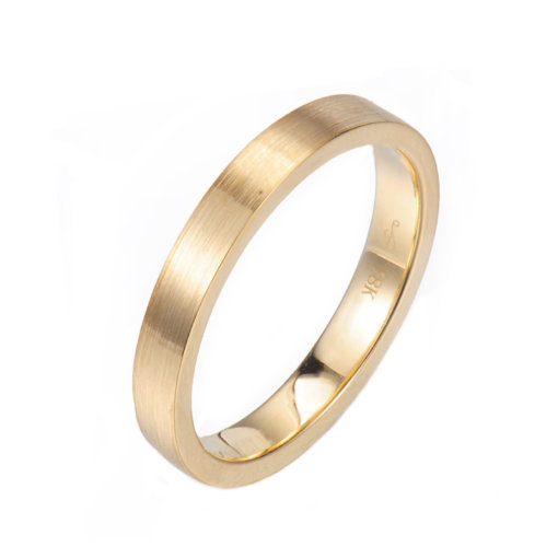 Chic square 3mm Satin Gold Band Ring Guard Spacer makes statement from subtle to dashing, available in 14k and 18k gold by JeweLyrie.