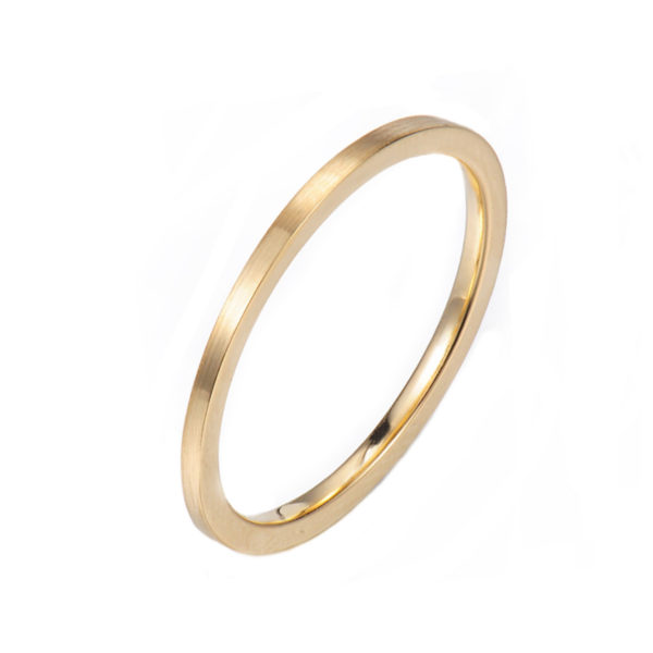 Slim Chic Satin Gold Square Wedding Ring makes statement from subtle to dashing, available in 14k and 18k, yellow, white and rose gold by JeweLyrie.