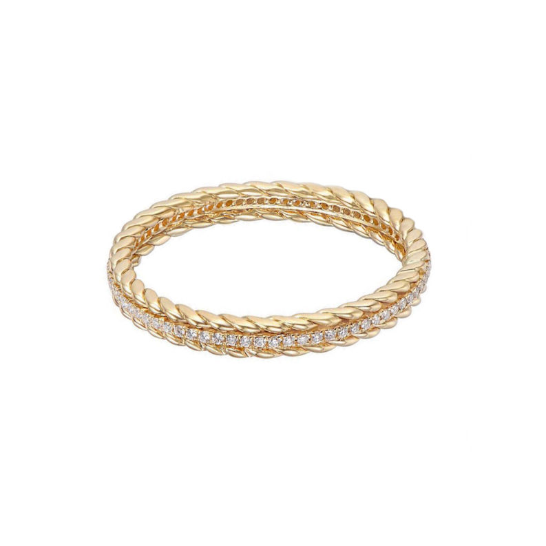 Double Twist Trimmed Pavé Diamond Eternity Band Ring Guard available in 14k and 18k, yellow, white and rose gold by JeweLyrie.