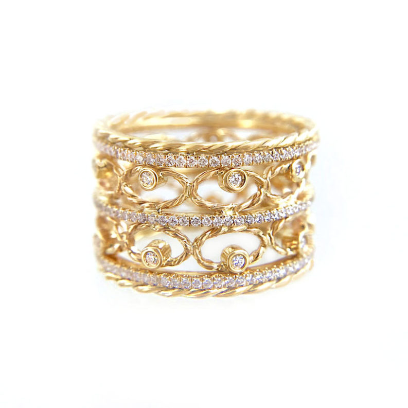 Twist Lace diamond Ring Stacking Set