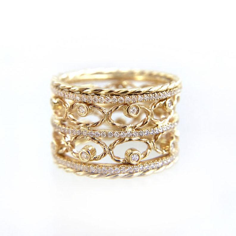 Twist Lace diamond Ring Stacking Set