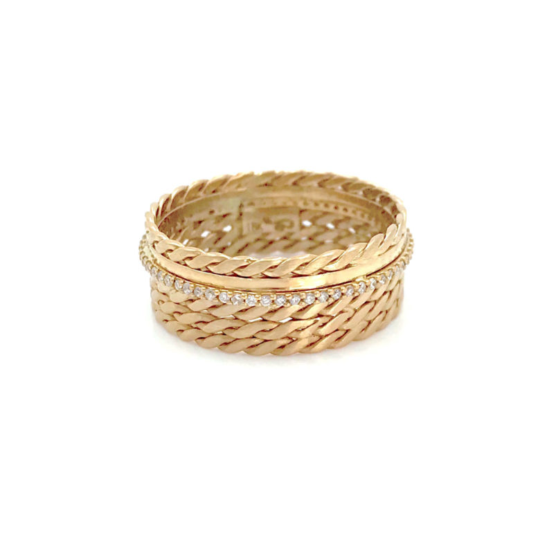 Slim Pave Diamond accent twist mesh textured Cigar Band