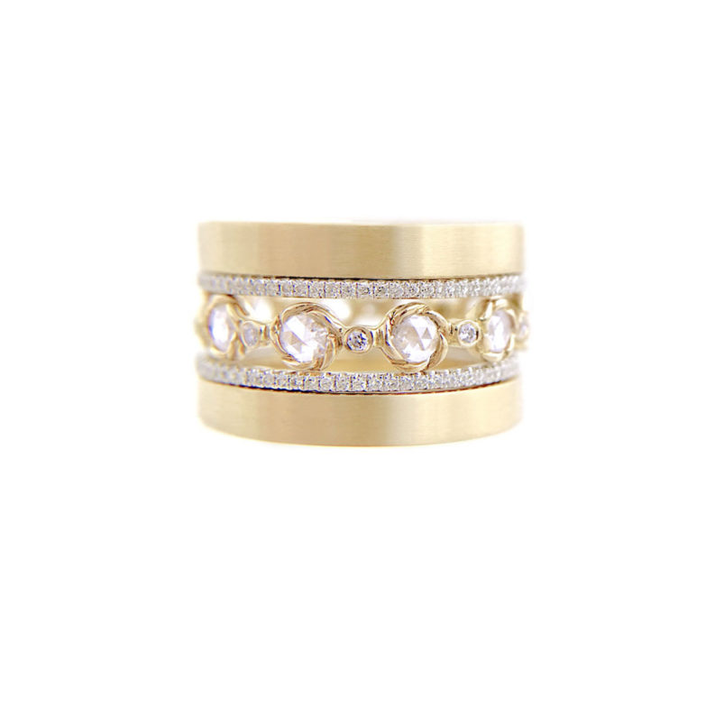 Signature Twist bezel set rose-cut diamond openwork eternity wedding band