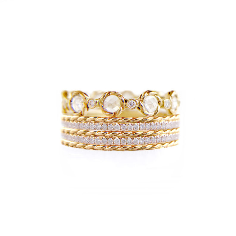 Rose-Cut Diamond Eternity Stacking Ring