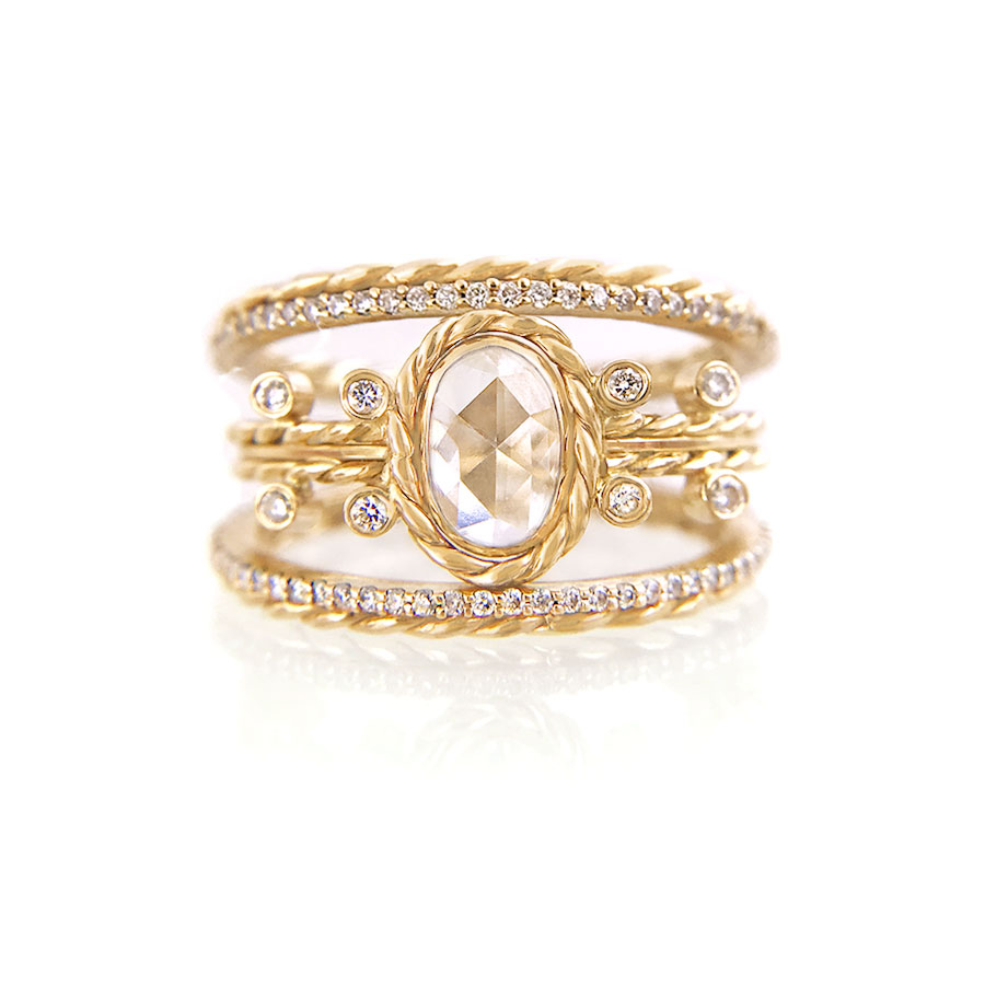 18k-gold-Oval-Rose-Cut-Diamond-Solitaire-Bridal-Stacking-Set-C-900