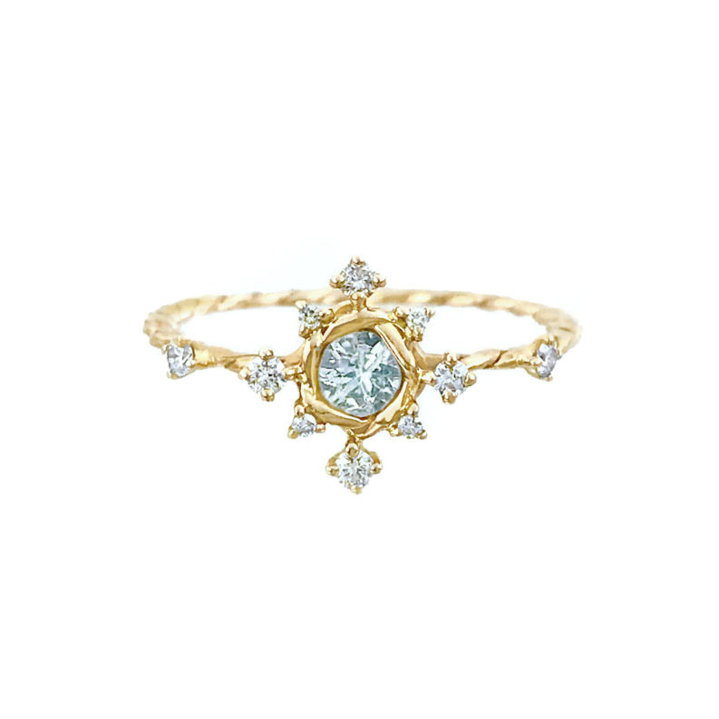Aquamarine Diamond Engagement Ring alternative Bridal JeweLyrie