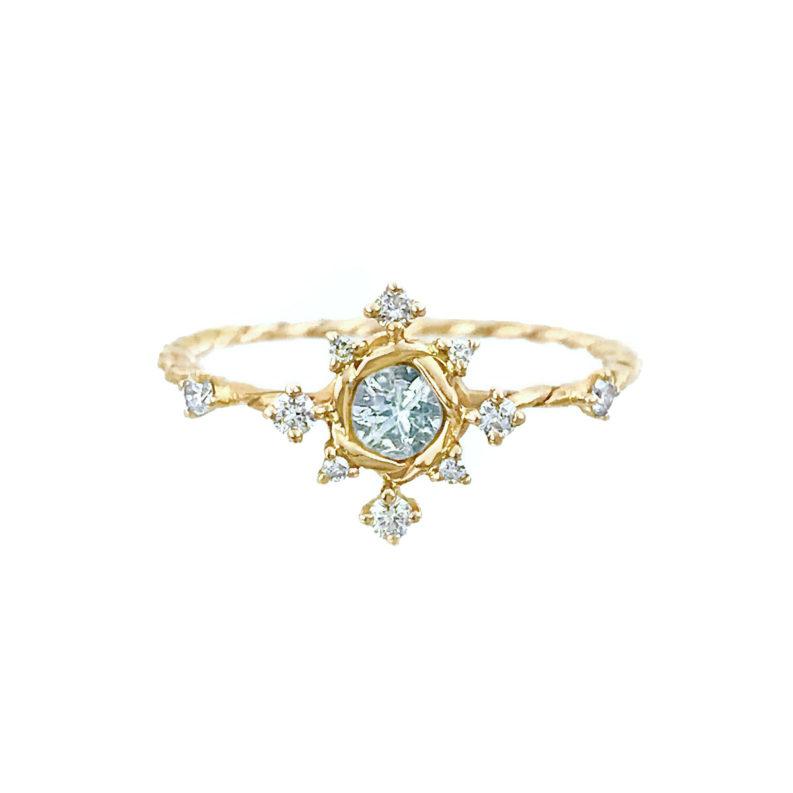Aquamarine Diamond Engagement Ring alternative Bridal JeweLyrie