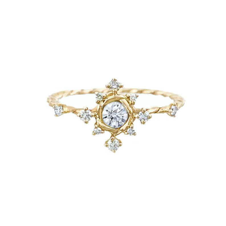 Diamond Star Twist Alternative Bridal Engagement Ring