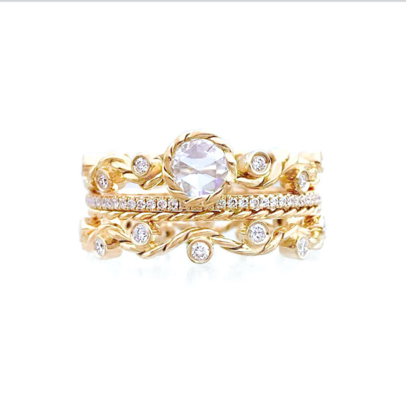 Primrose Enlace Rose Cut Diamond Twist Wave Bridal Stacking Set Made-To-Order by JeweLyrie