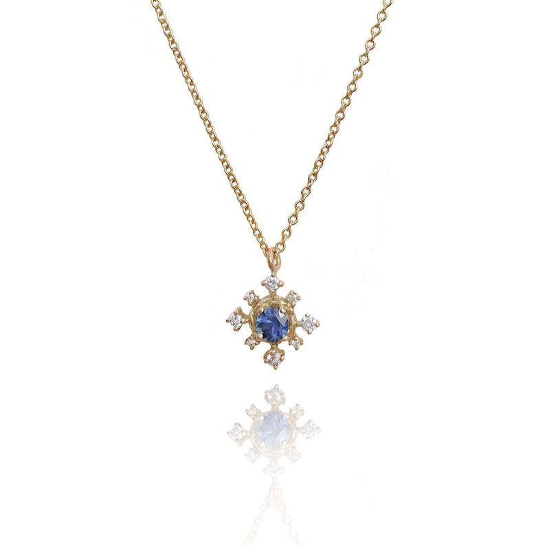 Blue sapphire diamond star drop pendant necklace with JeweLyrie signature twist setting handcrafted in 14k and 18k made to order free domestic shipping
