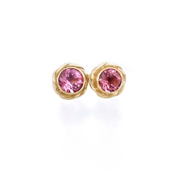 Bezel set pink spinel studs with JeweLyrie signature twist wrap handcrafted made to order free domestic shipping by JeweLyrie
