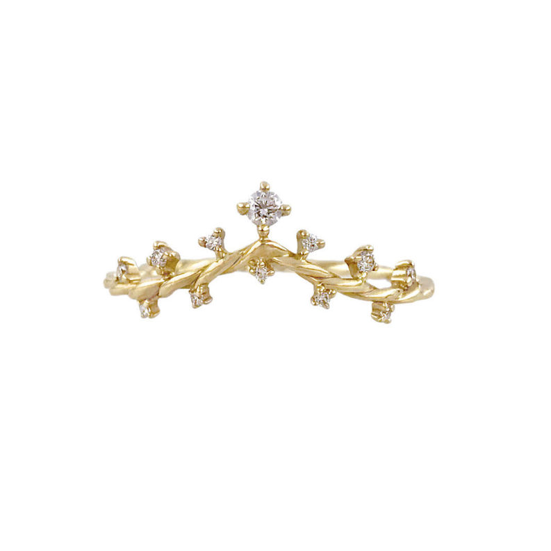 Romantic spin on classic twist diamond V stackable ring 14k 18k handcrafted by JeweLyrie made to order free domestic shipping