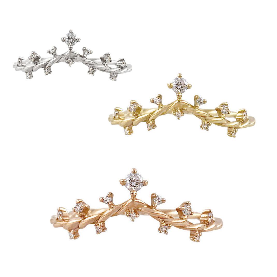 Wisteria-twist-diamond-V-ring-14k-18k
