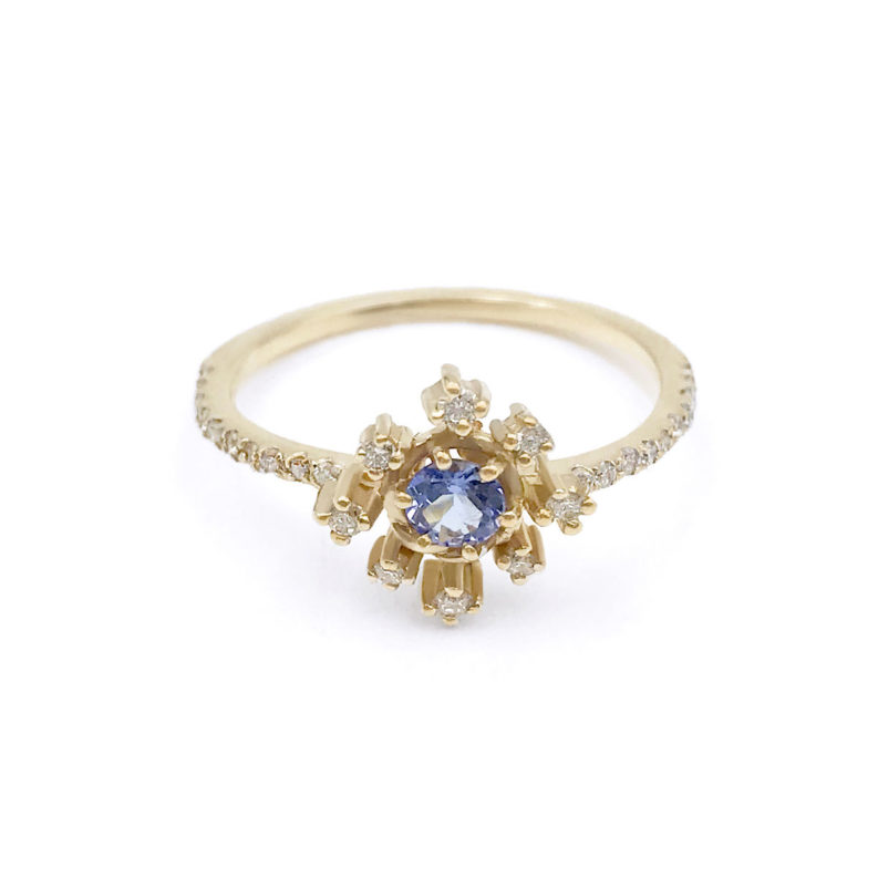 Blue sapphire diamond star ring with pavé diamond half shank handcrafted in 14k and 18k made to order by JeweLyrie free domestic shipping